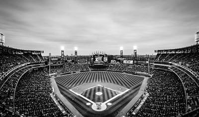 Comiskey Park Night Game - Black And White Art Print