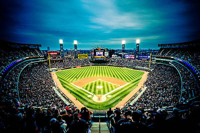 Photograph - Comiskey Park Night Game - Creative Coloring by Anthony Doudt
