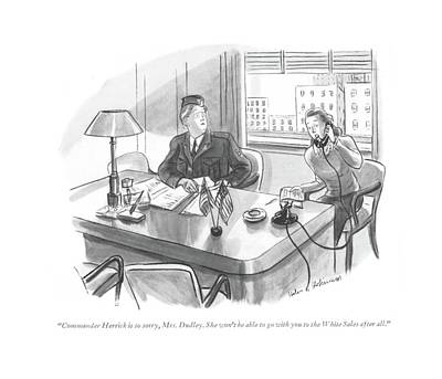 Commander Herrick Is So Sorry Art Print by Helen E. Hokinson