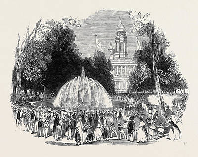 Garden Scene Drawing - Commemoration Of Independence At New York by American School