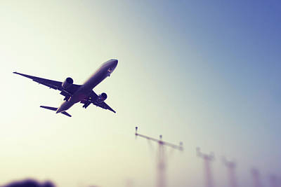 Photograph - Commercial Airliner Landing by Greg Bajor