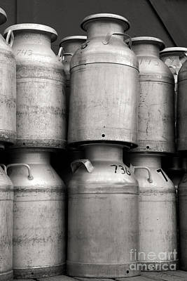 Dairy Farming Photograph - Commercial Milk Cans Black And White by Iris Richardson