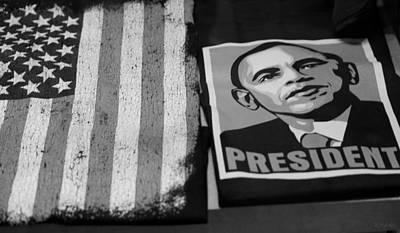 Commercialization Of The President Of The United States In Balck And White Art Print by Rob Hans