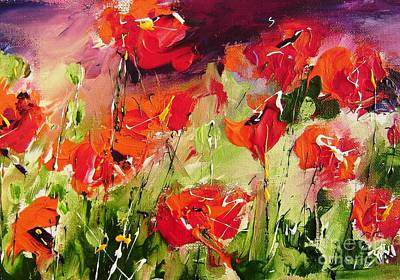 Commission A Poppy Painting  Art Print by Mary Cahalan Lee- aka PIXI