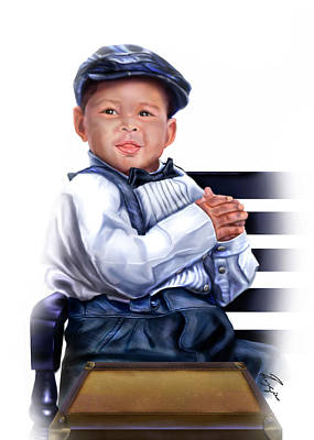 Commissioned - Handsome Baby Boy 1a Art Print by Reggie Duffie