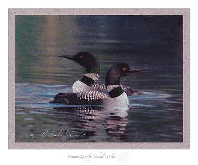 Loon Drawing - Common Loons by Michael  Weber