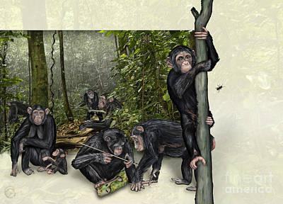 Ape. Great Ape Painting - Robust Chimpanzees Pan Troglodytes - Zoo Interpretive Panel - Schimpansen Schautafel  by Urft Valley Art