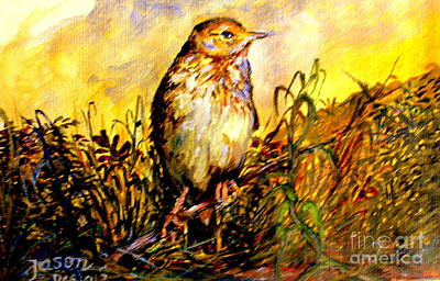 Painting - Common Pipit by Jason Sentuf