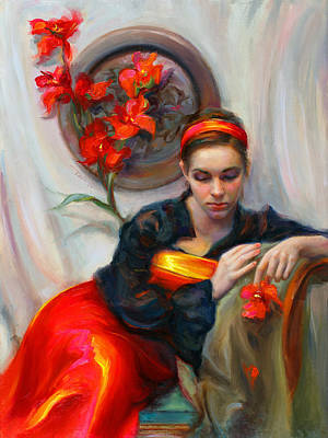 Red Flowers Painting - Common Threads - Divine Feminine In Silk Red Dress by Talya Johnson