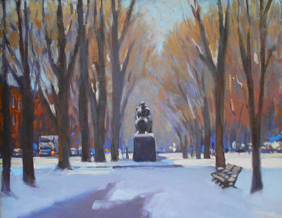 Comm Ave Painting - Commonwealth Ave In The Snow by Dianne Panarelli Miller