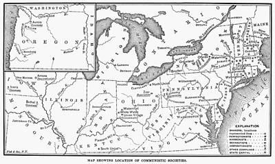 Oneida Painting - Communal Societies Map by Granger