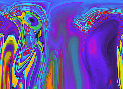 Abstract Digital Color Colorful Expressionism Impressionism Painting - Communication Breaks Down by Steve K