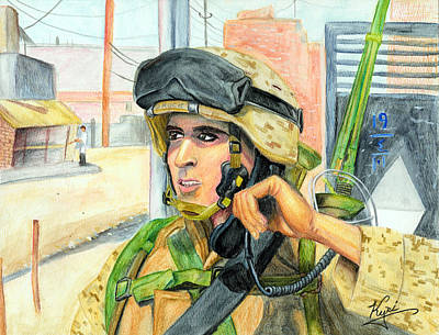 Corps Drawing - Communication On Patrol by Annette Redman