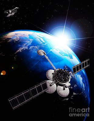 Comsats Photograph - Communication Satellites Space Internet Concept by Oleksiy Maksymenko
