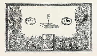 Communion Drawing - Communion Table Cover by Pegler, Leeds, English, 19th Century