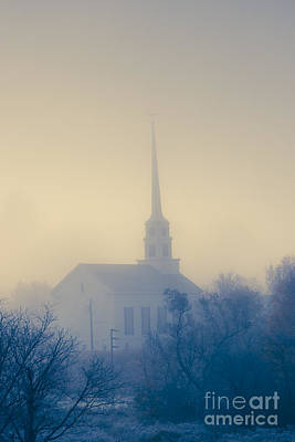 Photograph - Community Church On A Foggy Morning. by Don Landwehrle