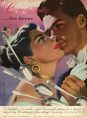 Community Cutlery  1952  1950s Usa Art Print by The Advertising Archives
