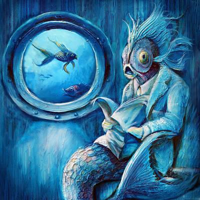 Reading Mixed Media - Commuter Fish Square by Vanessa Bates