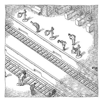 Train Station Drawing - Commuters Are Seen Standing On A Train Station by John O'Brien
