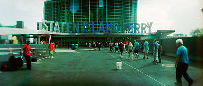 Commuters In Front Of A Ferry Terminal Art Print by Panoramic Images