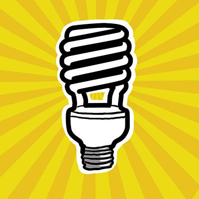 Digitalized Photograph - Compact Fluorescent Lightbulb by Yuriko Zakimi