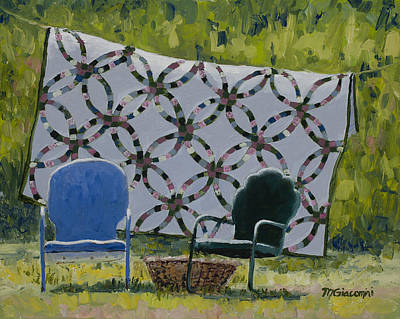 Homemade Quilts Painting - Companions by Mary Giacomini