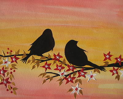 Cherry Blossoms Painting - Companionship by Cathy Jacobs