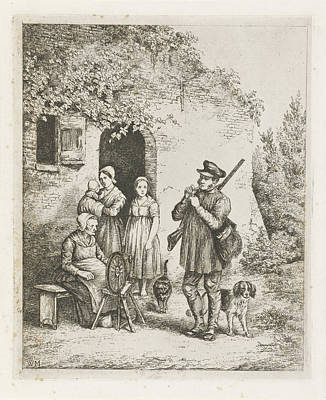 Spinning Drawing - Company Before The Door Of A House, Christiaan Wilhelmus by Christiaan Wilhelmus Moorrees