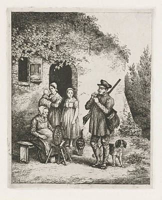 Spinning Drawing - Company For The Door Of A House, Print Maker Christiaan by Christiaan Wilhelmus Moorrees