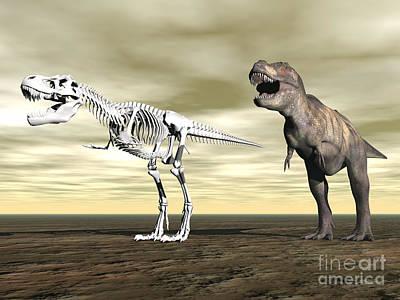 Comparison Of Tyrannosaurus Rex Art Print by Elena Duvernay