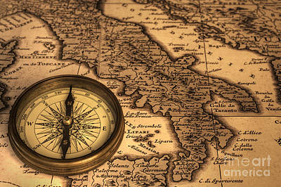 Compass And Ancient Map Of Italy Art Print