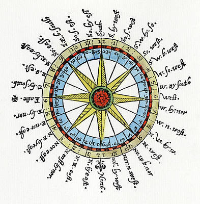 1596 Painting - Compass Card, 1596 by Granger