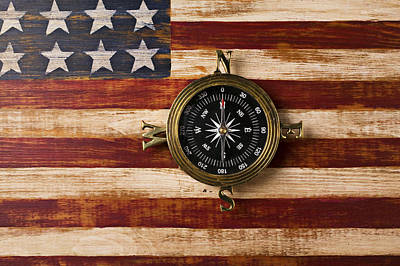 Photograph - Compass On Wooden Folk Art Flag by Garry Gay