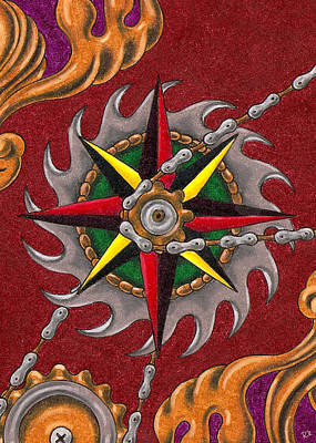 Filigree Drawing - Compass Rose by Rik Hayes
