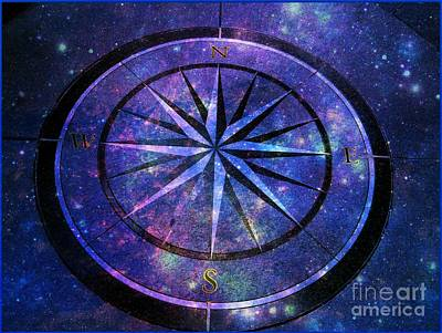Compass With A Galaxy Art Print