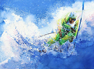 Skiing Action Painting - Competitive Edge by Hanne Lore Koehler