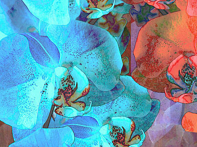 Free Form Mixed Media - Complementary Blooms by Lynda Lehmann