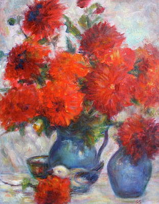 Cadmium Red Painting - Complementary - Original Impressionist Painting - Still-life - Vibrant - Contemporary by Quin Sweetman