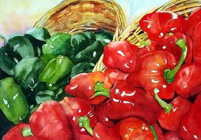 Pepper Painting - Complementary Peppers by Beth Fontenot