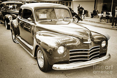 Photograph - Complete 1948 Plymouth Classic Car In Black And White Sepia 3387 by M K Miller