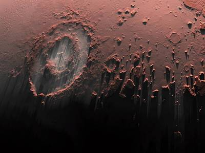 Impact Photograph - Complex Crater On Mars by Detlev Van Ravenswaay