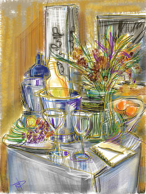 Glass Table Reflection Mixed Media - Compliments Of Blondie N. by Russell Pierce