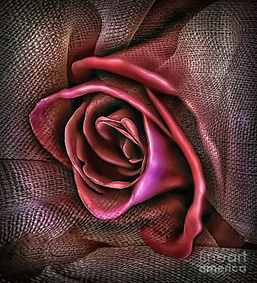 Photograph - Rose In Burlap 2 by Walt Foegelle