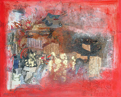 Abstract Collage Photograph - Composition, 1997 Mixed Media by Nissan Engel