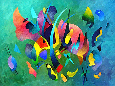 Painting - Composition In Blue And Green by Sally Trace