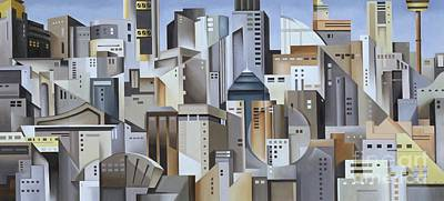 Abstract Skyline Painting - Composition Looking East by Catherine Abel