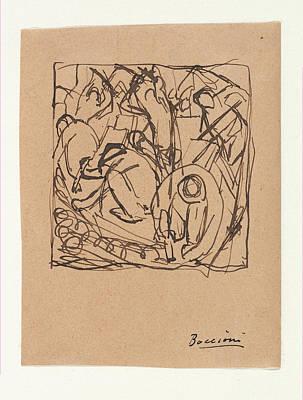 Umberto Boccioni Drawing - Composition Study For The Street Pavers by Umberto Boccioni