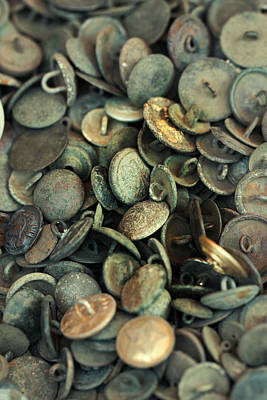 Mess Photograph - Composition With Old Rusty Vintage Buttons by Jaroslaw Blaminsky