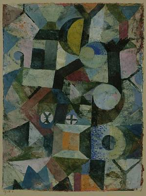Composition With The Yellow Half-moon Art Print by Paul Klee