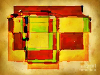 Compsiton In Sepia Browns And Green Art Print